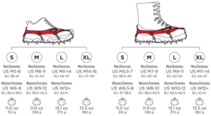 Microspikes sizing chart