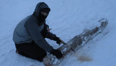Sawing in snow