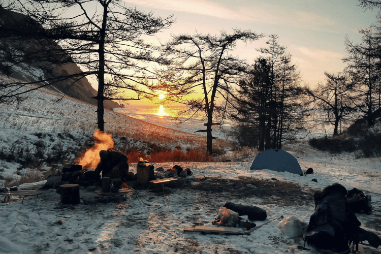 Setting up winter campsite