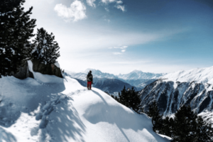 Winter hiking alone in the mountains