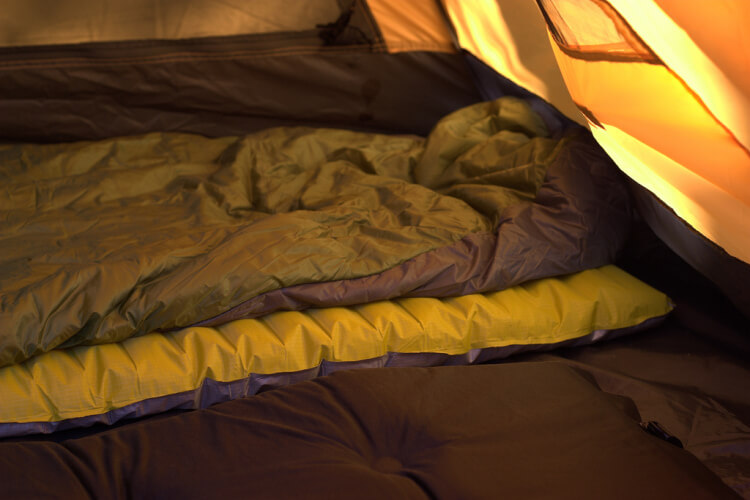 Winter sleeping bag inside tent