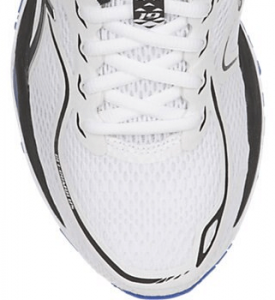 Road running shoe with open mesh design