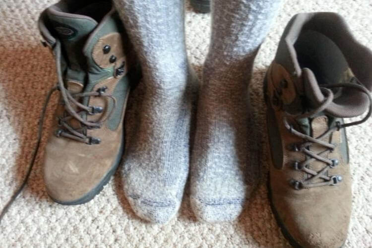 Wearing two pairs of hiking socks