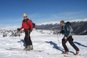 backcountry skiing with climbing skins