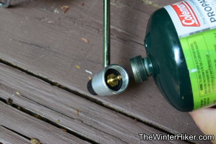 Attaching fuel canister to the Ozark Trail stove