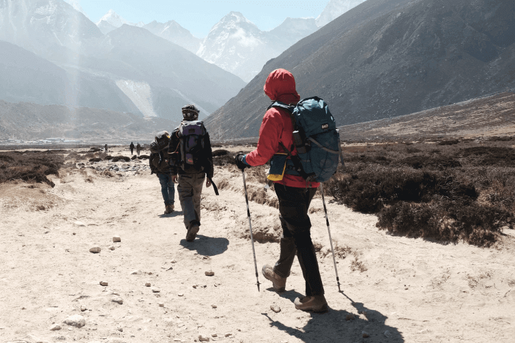 Hiking with two trekking poles