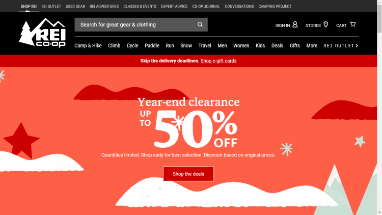 REI year end clearance sale