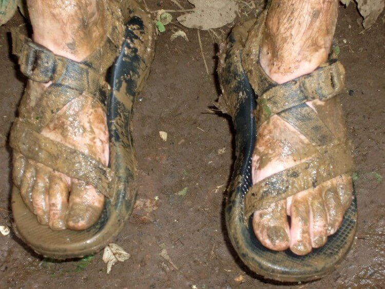 Muddy Chacos during hike