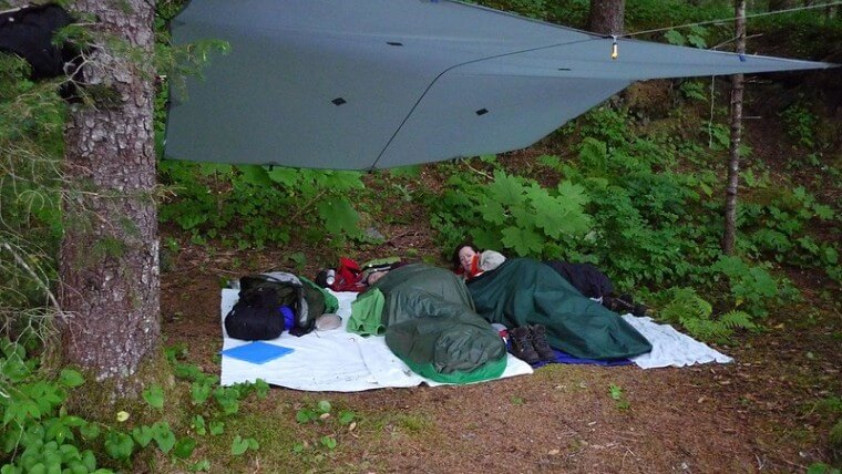 Tarp camping without a tent